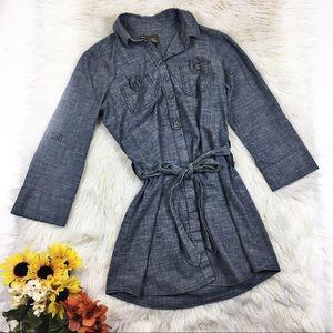 Anthro Fei Button Front Chambray Shirt Dress